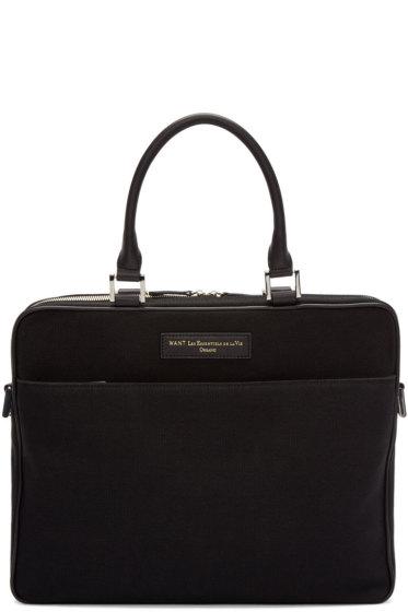 Want Les Essentiels - Black Canvas Haneda Computer Bag