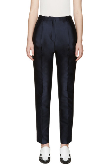 Carven - Navy Satin Stripe Trousers