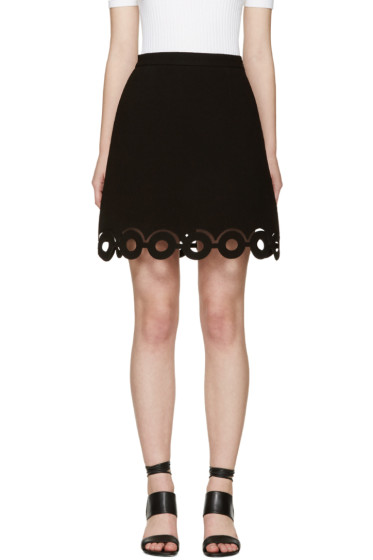 Carven - Black Lasercut Circle Miniskirt