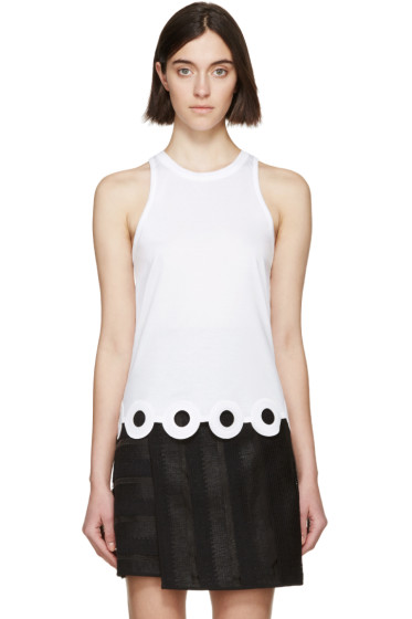 Carven - White Lasercut Circle Tank Top