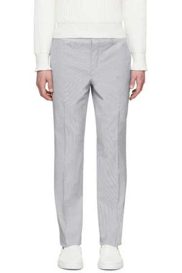 Carven - White & Blue Seersucker Trousers