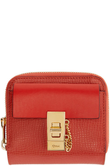 Chloé - Red Leather Square Drew Wallet