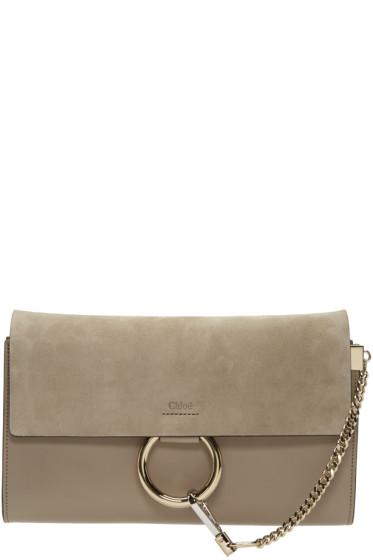 Chloé - Grey Leather & Suede Faye Clutch
