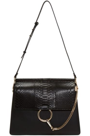 Chloé - Black Python Medium Faye Bag