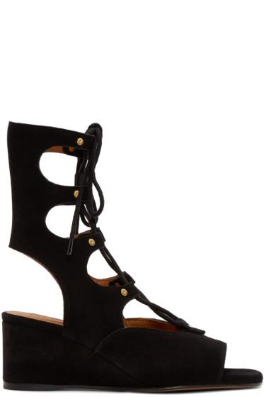 Chloé - Black Suede Gladiator Foster Sandals