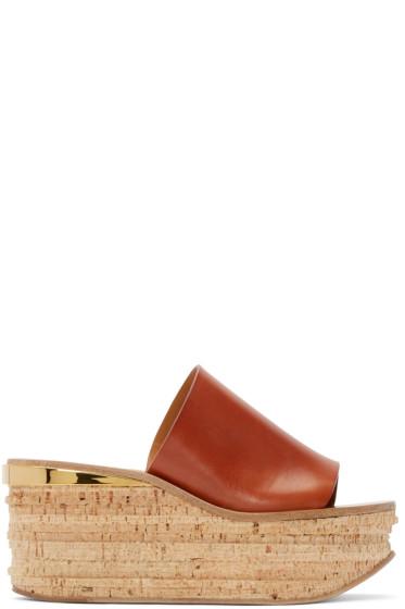 Chloé - Tan Leather & Cork Sandals