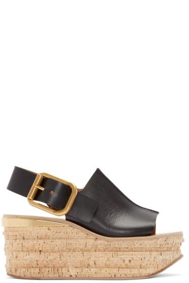 Chloé - Black Leather & Cork Sandals