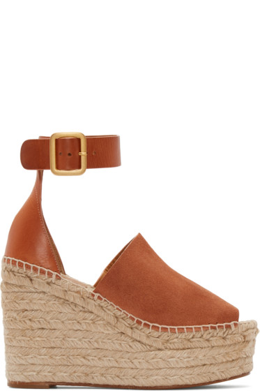 Chloé - Camel Suede Espadrille Wedge Sandals