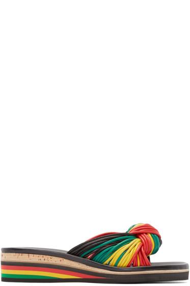 Chloé - Black & Tricolor Knot Sandals