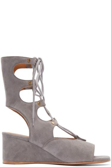 Chloé - Grey Suede Gladiator Sandals