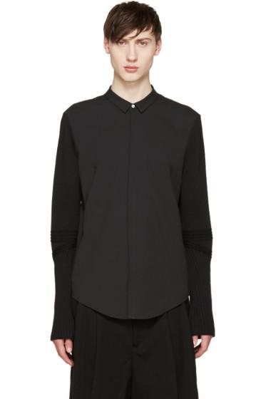 Juun.J - Black Ribbed Sleeve Shirt