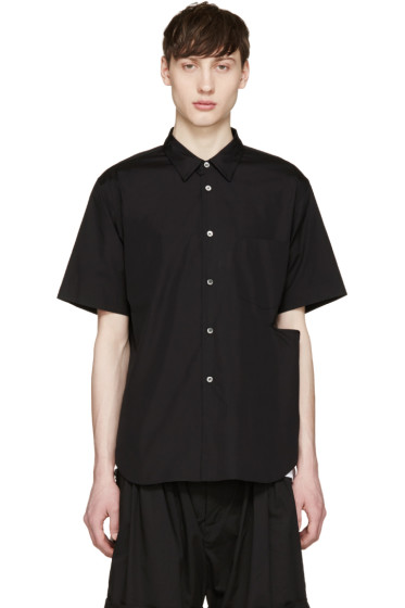 Comme des Garçons Homme Plus - Black Poplin Slit Shirt