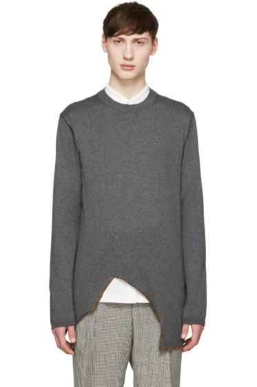 Comme des Garçons Homme Plus - Grey Burnt Hem Sweater