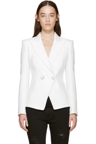 Pierre Balmain - White Double-Breasted Blazer