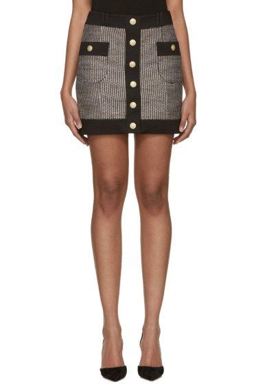 Pierre Balmain - Black & White Tweed Button Miniskirt
