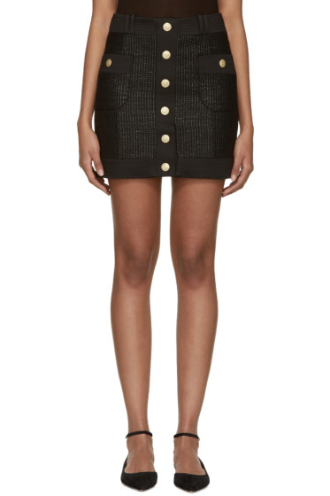 Pierre Balmain - Black Tweed Button Miniskirt