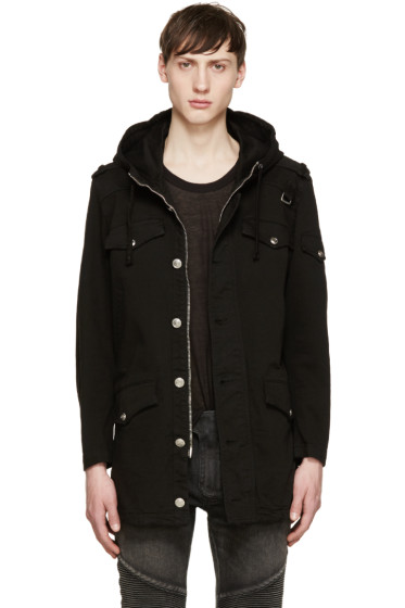 Pierre Balmain - Black Hooded Twill Jacket