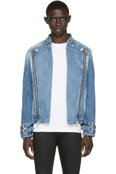 Pierre Balmain - Blue Denim Biker Jacket