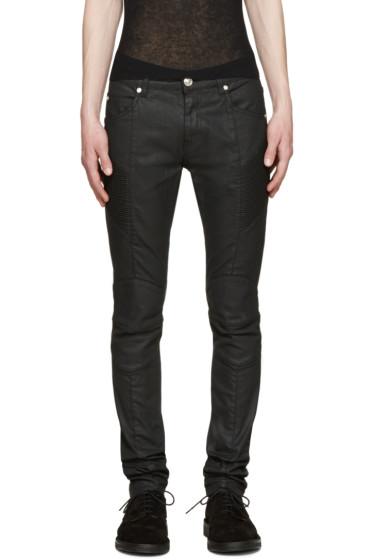 Pierre Balmain - Black Coated Skinny Biker Jeans