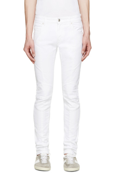 Pierre Balmain - White Skinny Biker Jeans