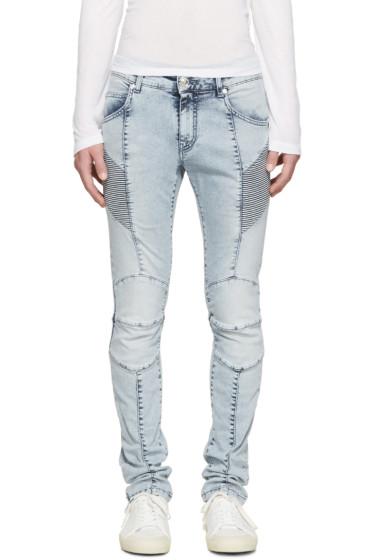 Pierre Balmain - Blue Washed Biker Jeans