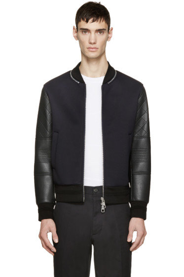 Neil Barrett - Navy & Black Neoprene Bomber Jacket