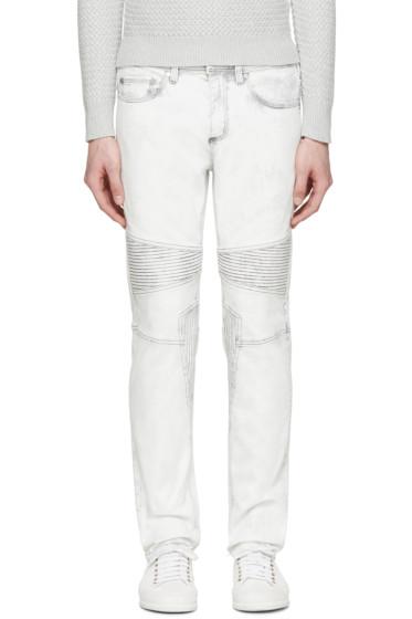 Neil Barrett - Off-White Bleached Biker Jeans