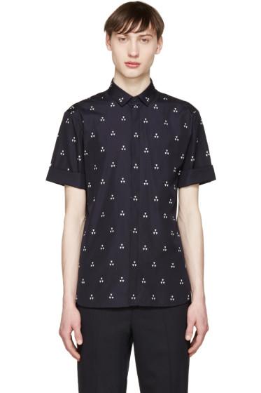 Neil Barrett - Navy Micro Batik Shirt