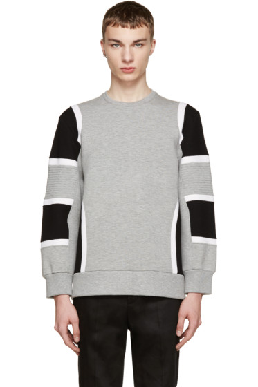 Neil Barrett - Grey & Black Biker Pullover