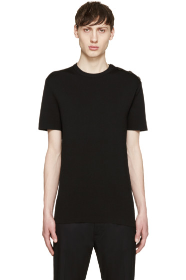 Neil Barrett - Black Buttoned Knit T-Shirt