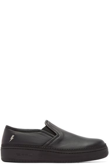 Neil Barrett - Black Leather Slip-On Sneakers
