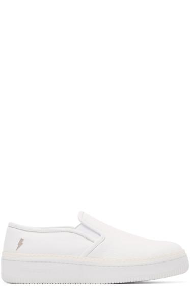 Neil Barrett - White Leather Slip-On Sneakers