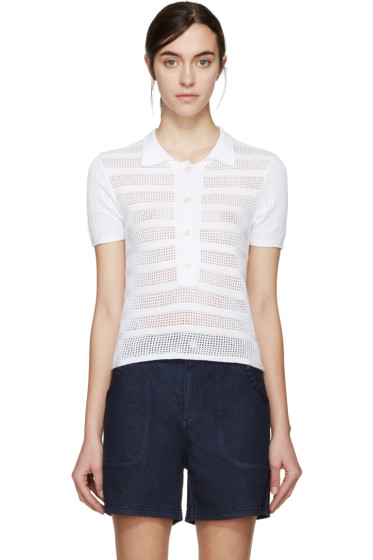 See by Chloé - White Open Knit Polo