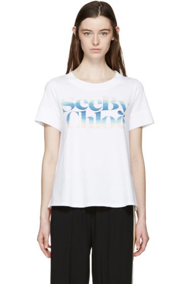See by Chloé - White Rainbow Logo T-Shirt