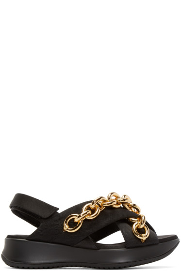 Burberry Prorsum - Black & Gold Chain Actonshire Sandals