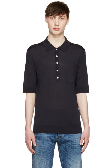 Burberry Prorsum - Navy Silk Knit Polo