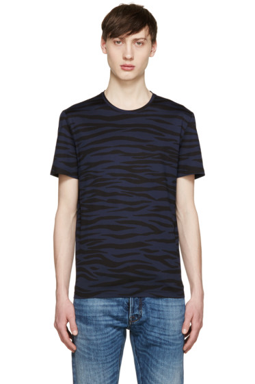 Burberry Prorsum - Navy & Black Zebra T-Shirt