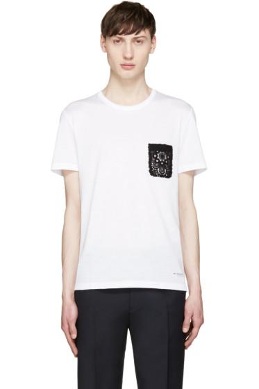 Burberry Prorsum - White Lace Pocket T-Shirt