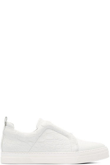 Pierre Hardy - White Croc-Embossed Slip-On Sneakers