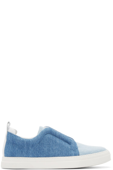 Pierre Hardy - Blue Denim Slip-On Sneakers