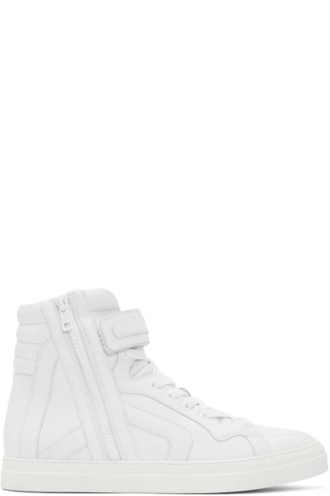 Pierre Hardy - White Leather High-Top Sneakers