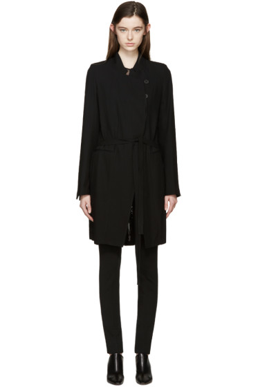 Ann Demeulemeester - Black Wool Pleat Back Coat