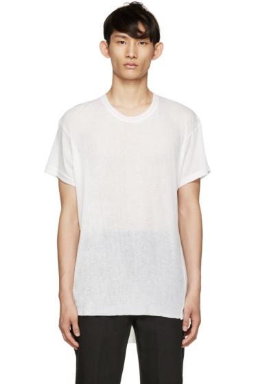Ann Demeulemeester - Ecru Ribbed T-Shirt