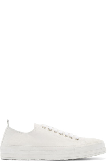 Ann Demeulemeester - Ivory Suede Low-Top Sneakers