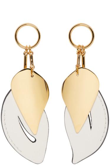 Marni - White & Gold Leaf Earrings