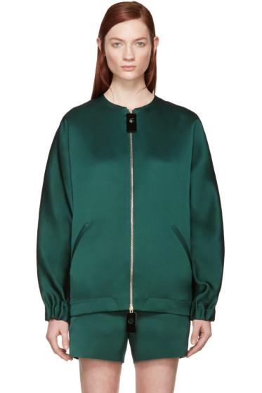 Marni - Green Satin Silk Bomber Jacket
