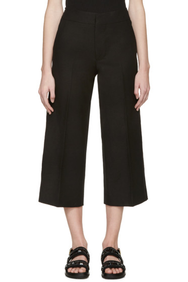 Marni - Black Cropped Wide-Leg Trousers
