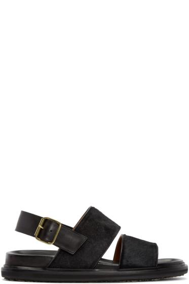 Marni - Black & Navy Calf-Hair Sandals