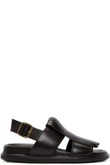 Marni - Black Leather Fringed Sandals