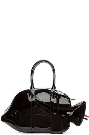 Thom Browne - Black Patent Leather Trigger Reef Fish Duffle Bag